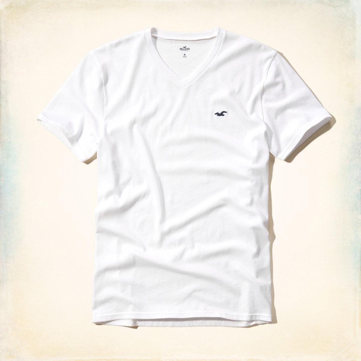 美國百分百【Hollister Co.】T恤 HCO 短袖 T-shirt 海鷗 白色 素T logo V領 S號 E956