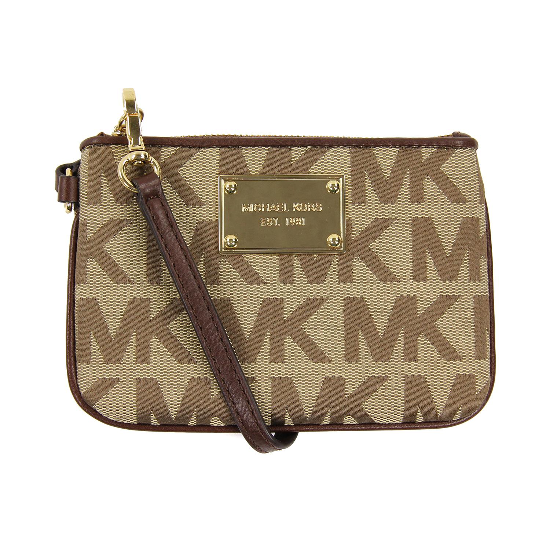 美國百分百【全新真品】MICHAEL KORS 手拿包 MK 手提包 錢包 手機包 皮包 零錢包 提花布 女包 E901