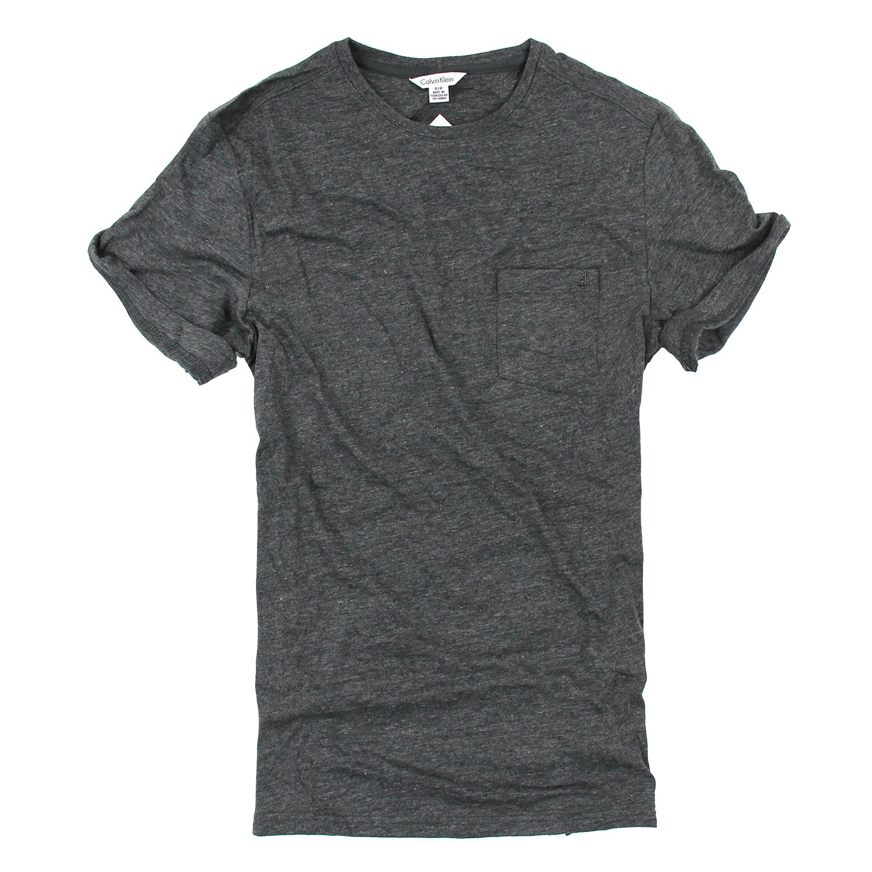 美國百分百【Calvin Klein】上衣 CK 短袖 T恤 T-shirt 短T 口袋 深灰 男 素面 S號 F025