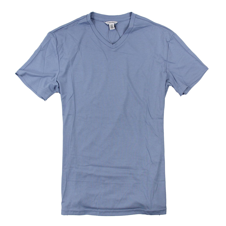 美國百分百【Calvin Klein】上衣 CK 短袖 T恤 T-shirt 短T V領 淺藍 男 素面 S號 F026