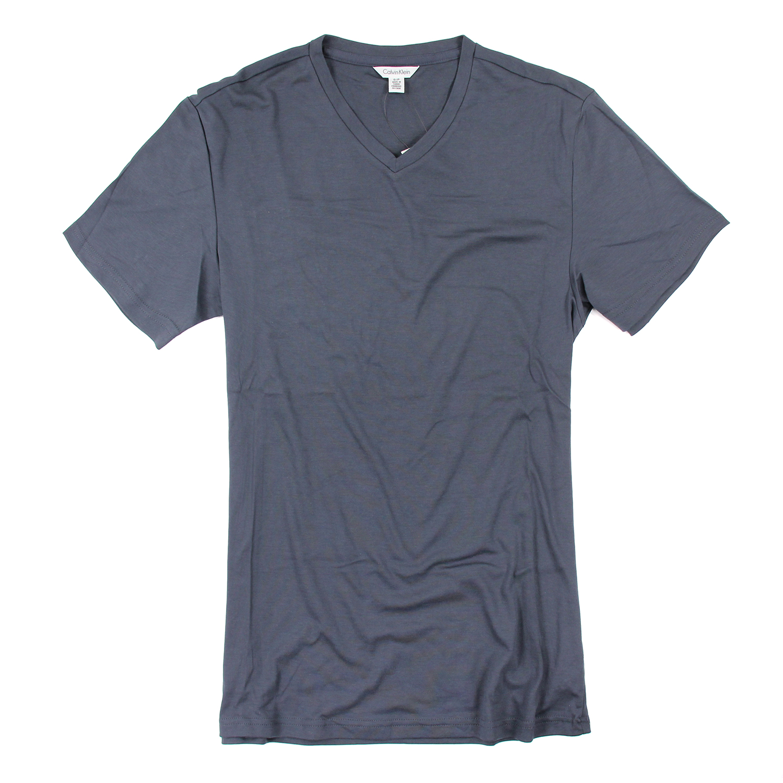 美國百分百【Calvin Klein】上衣 CK 短袖 T恤 T-shirt 短T V領 深灰 男 素面 S號 F026