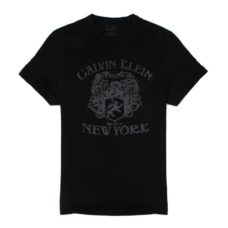美國百分百【Calvin Klein】上衣 CK 短袖 T恤 T-shirt 短T LOGO 黑 男 徽章 F029