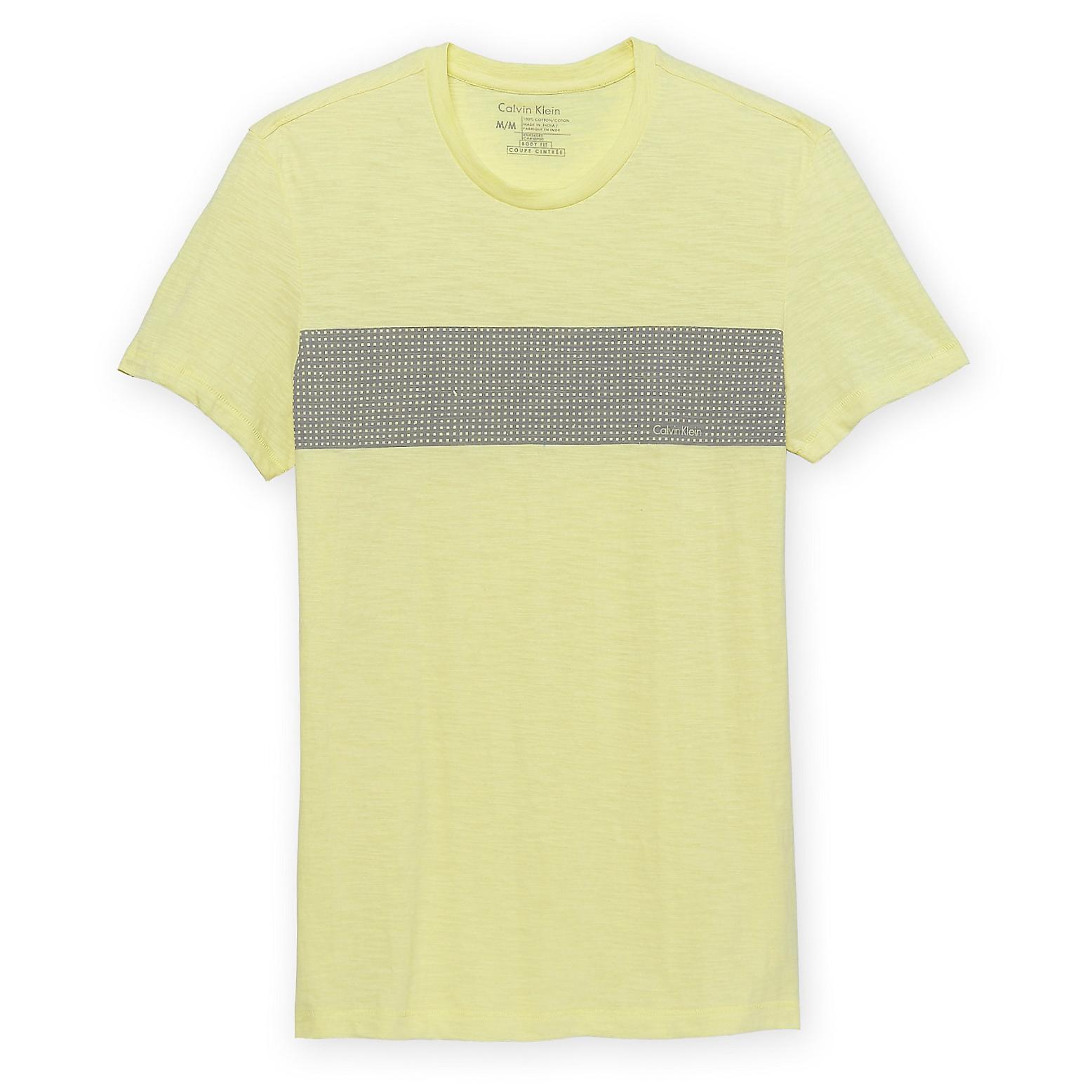 美國百分百【Calvin Klein】上衣 CK 短袖 T恤 T-shirt 短T LOGO 黃色 男 格子 XS號 F030