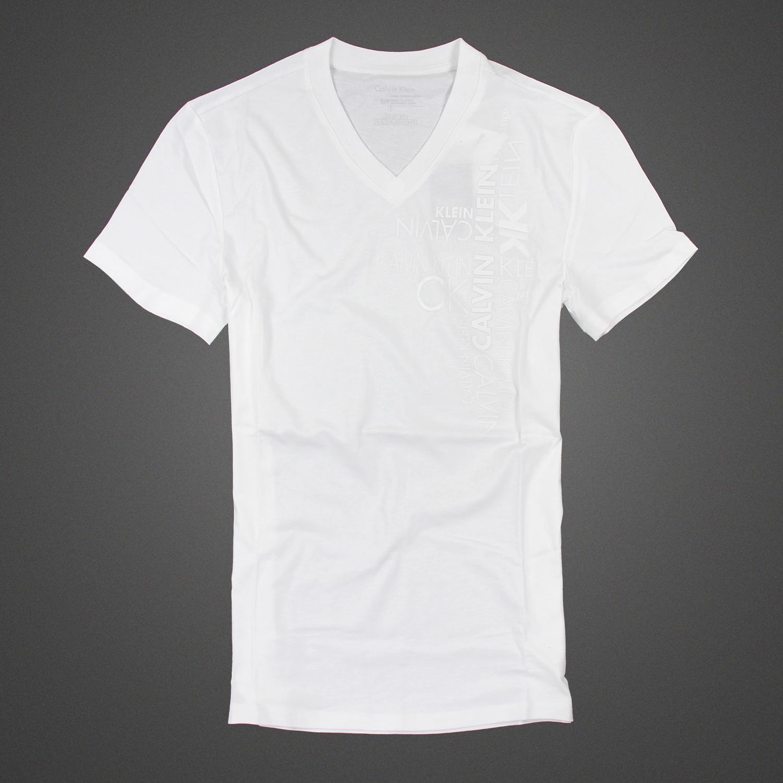 美國百分百【Calvin Klein】T恤 CK 短袖 T-shirt 短T 白色 V領 浮雕logo 男上衣 XS號 C627