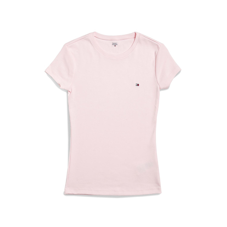 美國百分百【Tommy Hilfiger】T恤 TH 女 圓領 T-shirt 短袖 LOGO 粉紅色 素面 XS S M號 F055