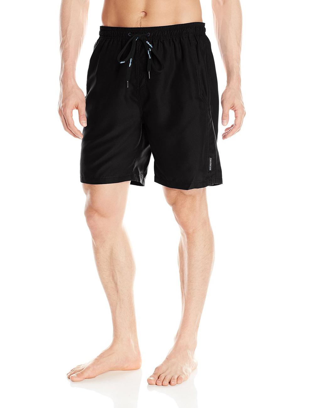 美國百分百【全新真品】Calvin Klein 短褲 CK 休閒褲 海灘褲 泳褲 沙灘褲 衝浪褲 黑色 男 XXL號 F114