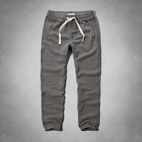 美國百分百【Abercrombie & Fitch】褲子 AF 長褲 棉褲 休閒褲 麋鹿 縮口 運動 灰色 男 M號 F118