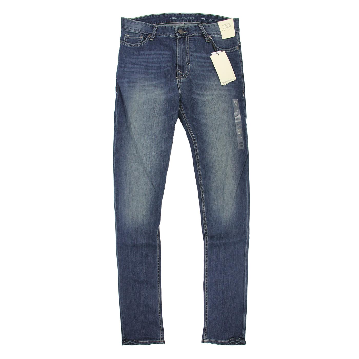 美國百分百【全新真品】Calvin Klein 牛仔褲 CK 休閒褲 長褲 單寧 男 合身 深藍 刷白 30腰 F123