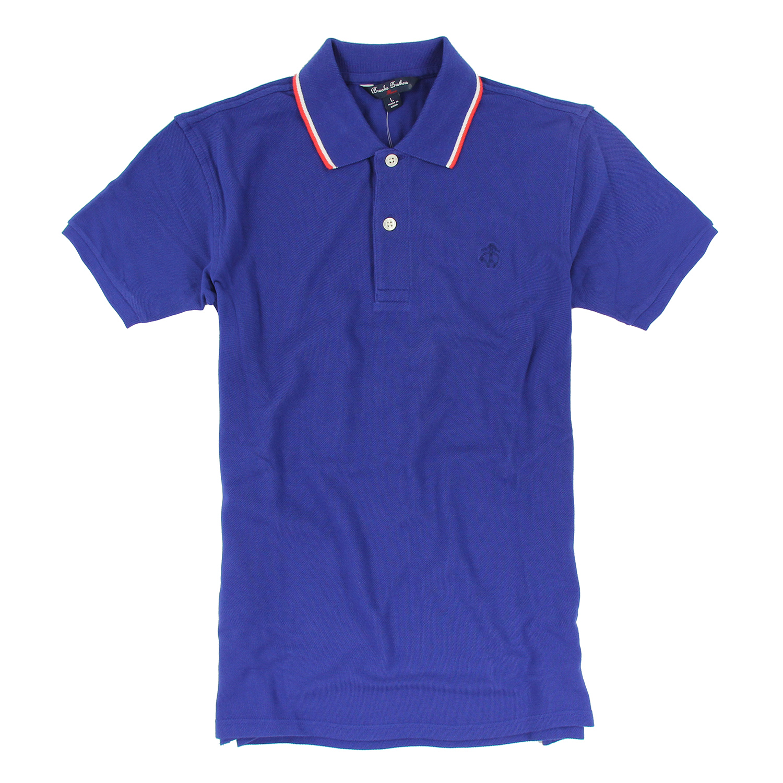 美國百分百【Brooks Brothers】布克兄弟 polo衫 上衣 短袖 素面 網眼 男 寶藍 L號 F135
