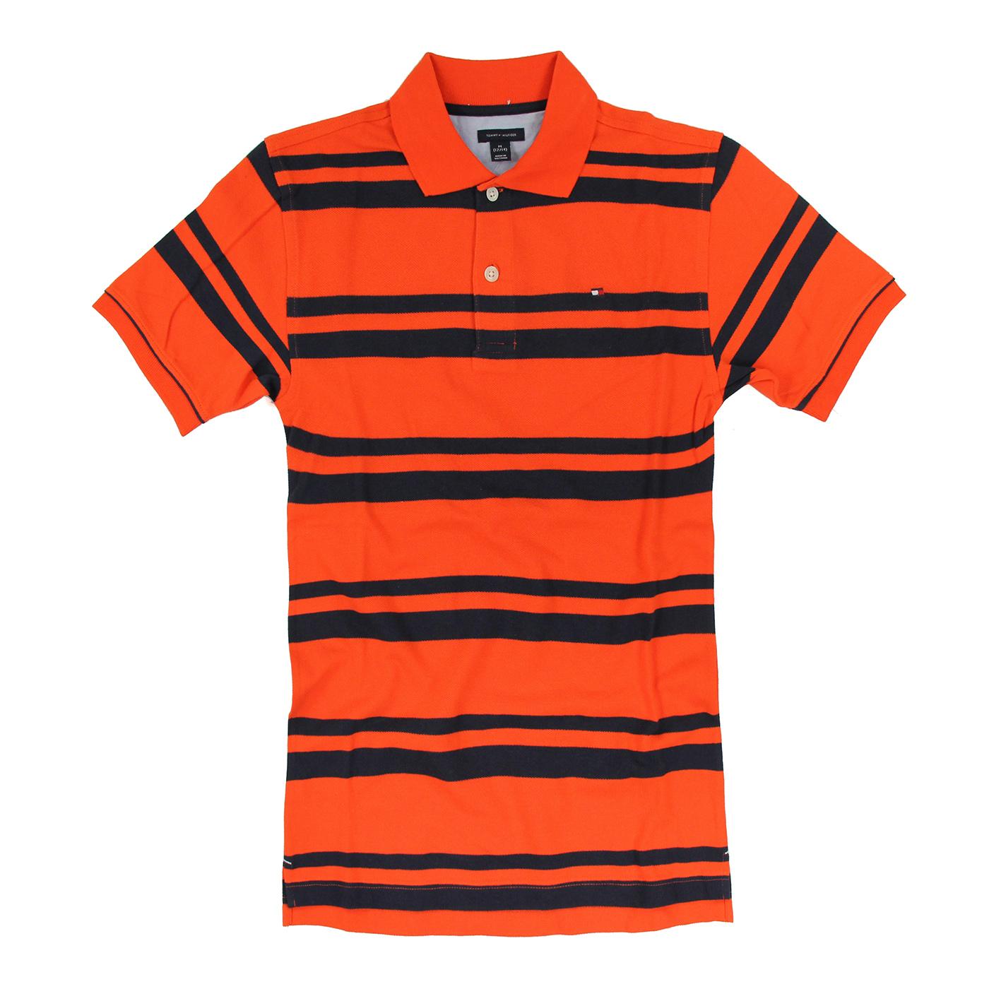 美國百分百【Tommy Hilfiger】Polo衫 TH 短袖 網眼 上衣 條紋 橘色 深藍 XS XXS號 F138