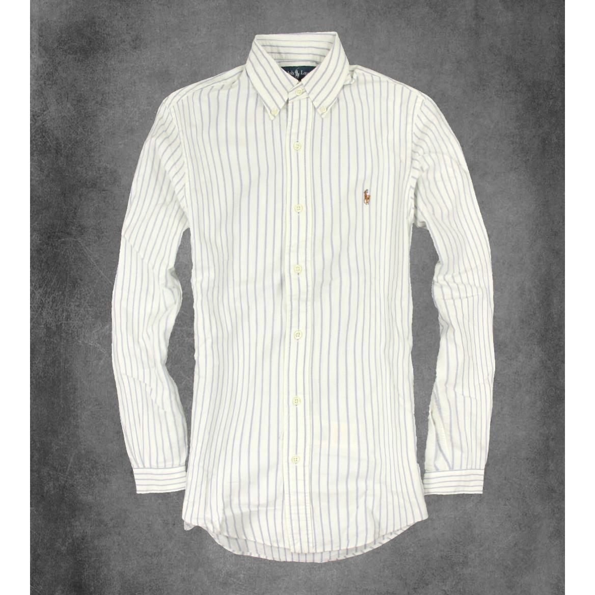 美國百分百【全新真品】Ralph Lauren 長袖 襯衫 RL 男 POLO 彩馬 牛津布 條紋 上衣 白 XS號 F150