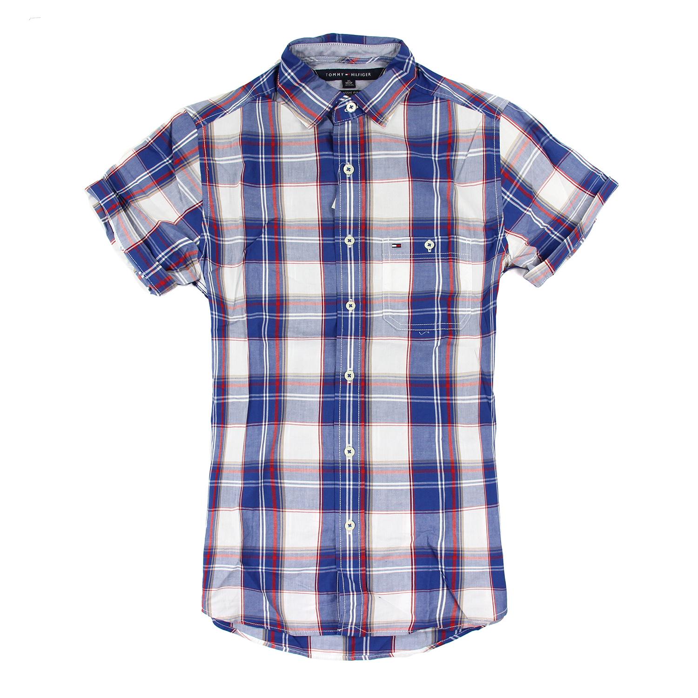 美國百分百【Tommy Hilfiger】TH 男 襯衫 短袖 上衣 休閒 口袋 藍 紅 白 格紋 XS S號 F174