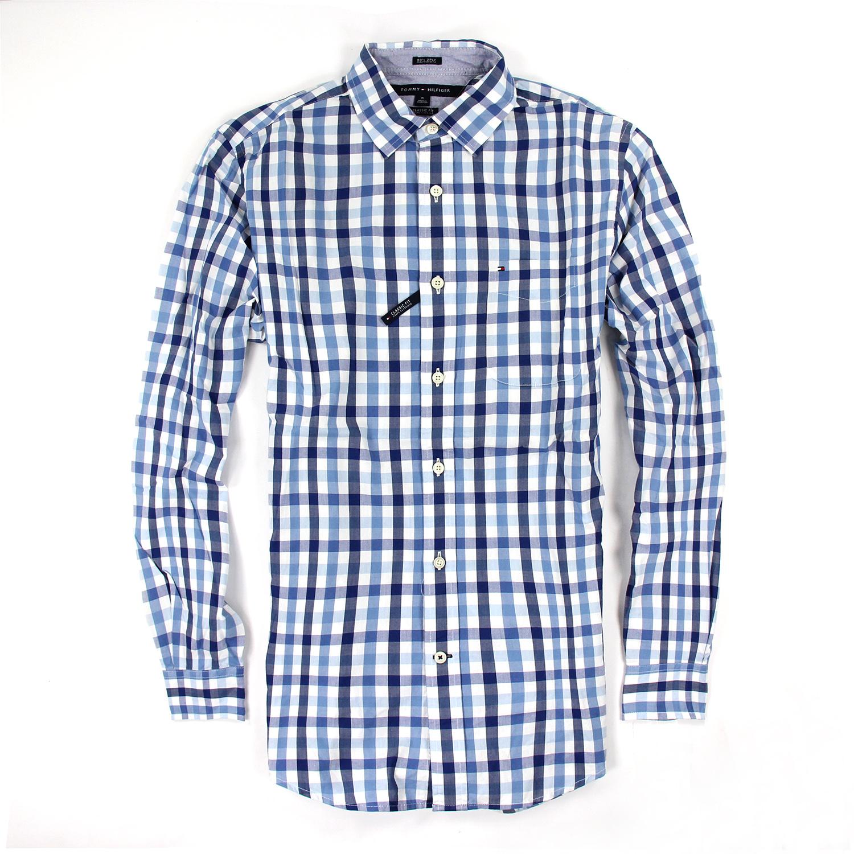 美國百分百【Tommy Hilfiger】TH 男 襯衫 長袖 上衣 休閒 口袋 藍色 白色 格紋 M號 F180