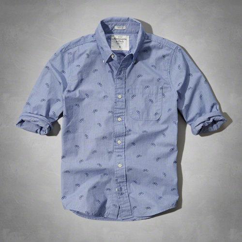 美國百分百【Abercrombie & Fitch】AF 麋鹿 男 藍 白 條紋 長袖 襯衫 休閒 單車 S號 F182