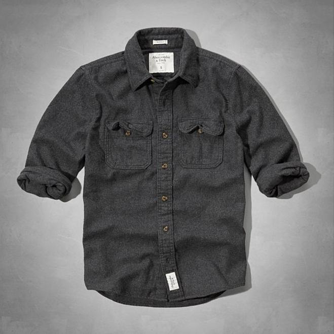 美國百分百【Abercrombie & Fitch】襯衫 AF 長袖 上衣 麋鹿 法蘭絨 素面 深灰 男 S號 F183
