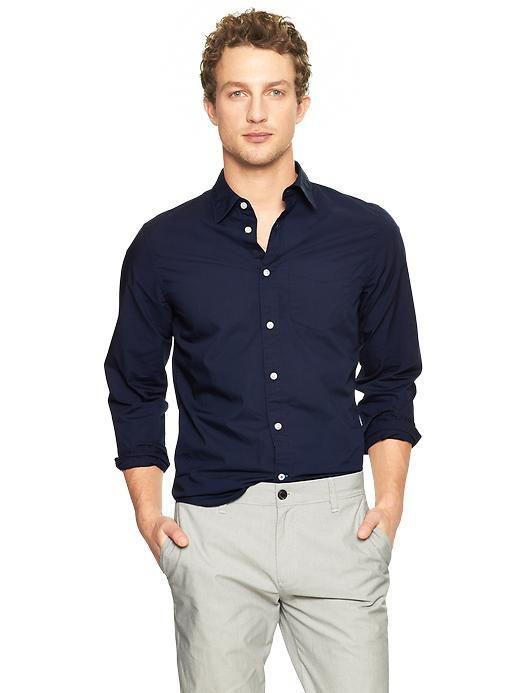 美國百分百【全新真品】GAP 襯衫 長袖 上衣 休閒 素面 深藍色 男 XL號 F187