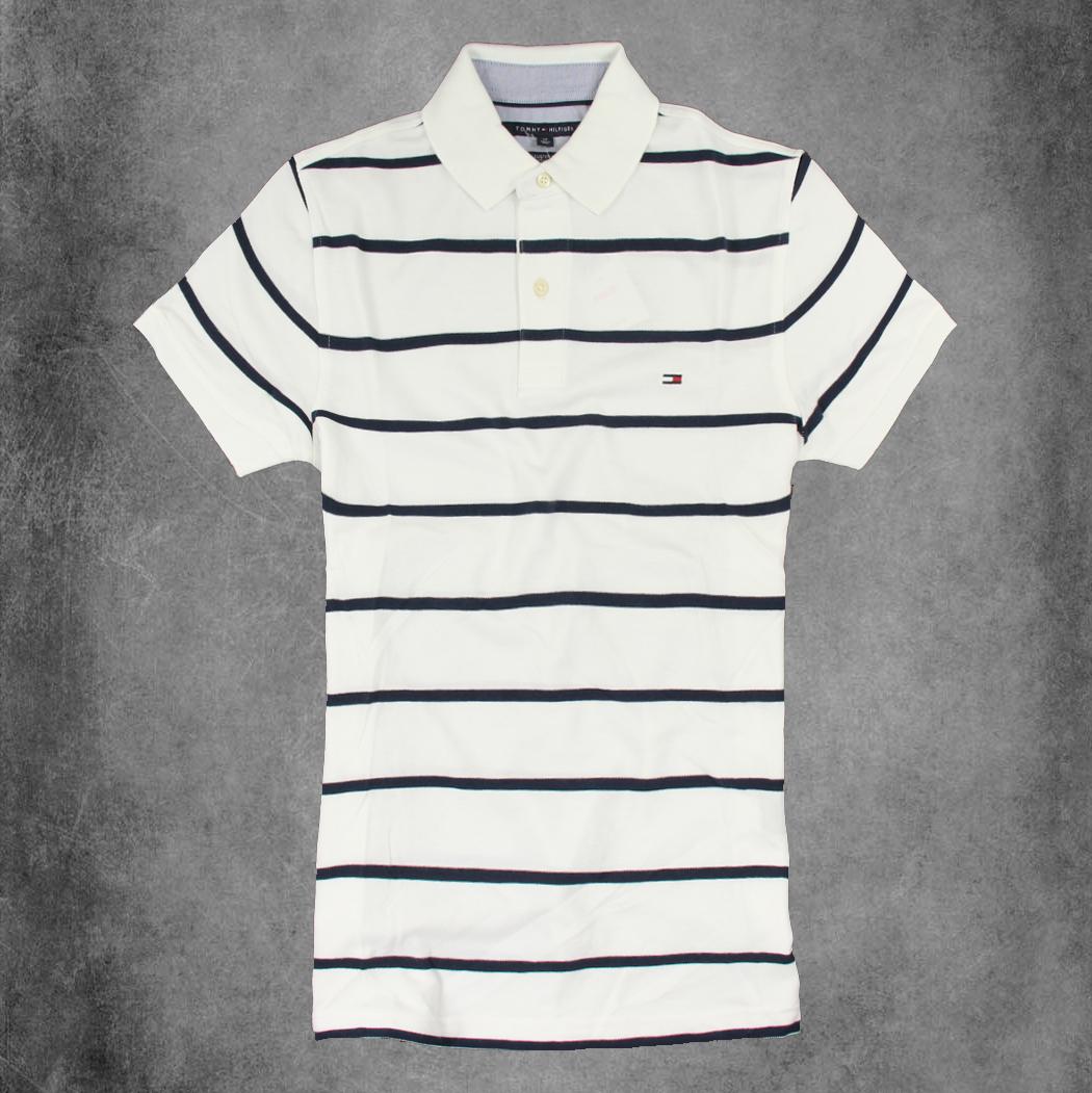 美國百分百【Tommy Hilfiger】Polo衫 TH 短袖 網眼 上衣 條紋 白色 黑色 XS號 F190