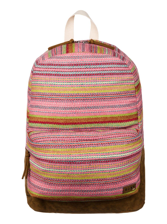 美國百分百【全新真品】ROXY 後背包 女包 學生包 外出包 書包 運動包 衝浪 民俗風 彩色 條紋 古著 F202