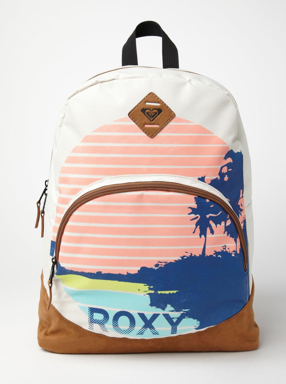 美國百分百【全新真品】ROXY 後背包 女包 學生包 外出包 書包 運動包 衝浪 登山 椰子樹 條紋 豬鼻 白 F203