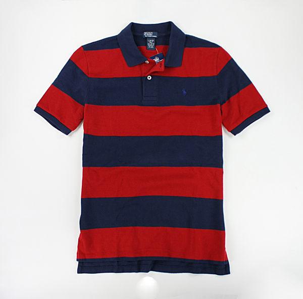 美國百分百【驚喜價】Ralph Lauren RL 紅藍 寬條紋 網眼 短袖 男生 polo衫 XS S號 人氣特價
