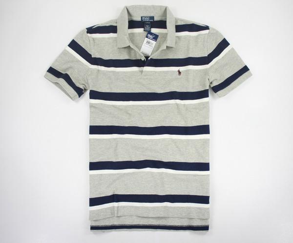 美國百分百【驚喜價】Ralph Lauren RL 雙條紋 男生 休閒風 短袖 網眼 Polo衫 灰色 XS號 超取
