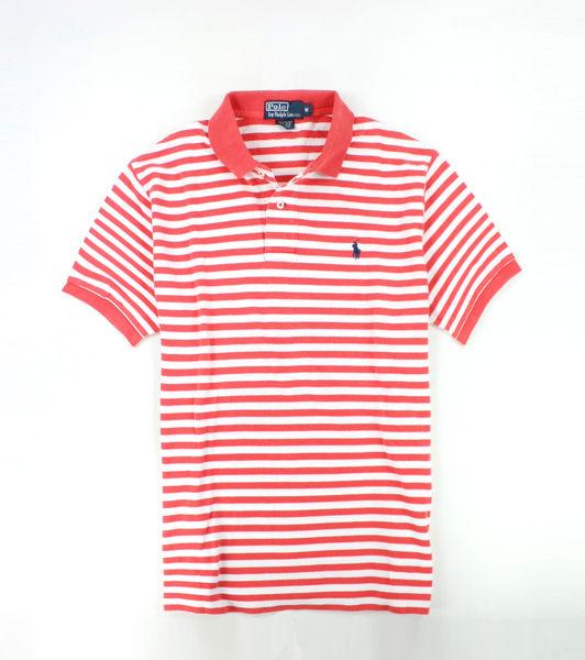美國百分百【全新真品】Ralph Lauren RL 男 Polo衫 鮭魚紅 條紋 藍馬 上衣 外衣 網眼 貨付 M號