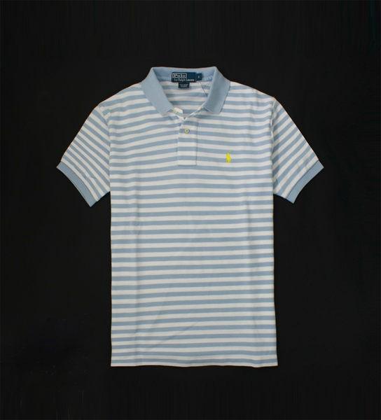 美國百分百【全新真品】Ralph Lauren RL 男 Polo衫 水藍 條紋 黃馬 上衣 外衣 網眼 貨付 S M號