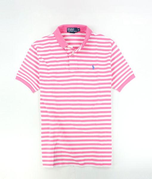 美國百分百【全新真品】Ralph Lauren RL 男 Polo衫 粉紅 條紋 藍馬 上衣 外衣 網眼 超取 M號