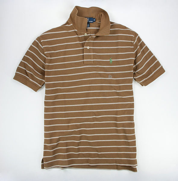 美國百分百【特惠價】Ralph Lauren RL 男生 咖啡色 雙細條紋 Polo衫 網眼 上衣 L號 超取 1600免運
