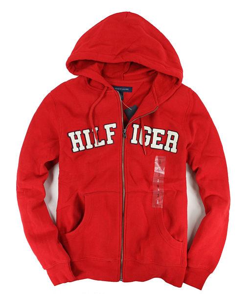 美國百分百【全新真品】Tommy Hilfiger 經典不敗 連帽 拉鍊 外套 帽T 紅色 男生 TH M號 C016