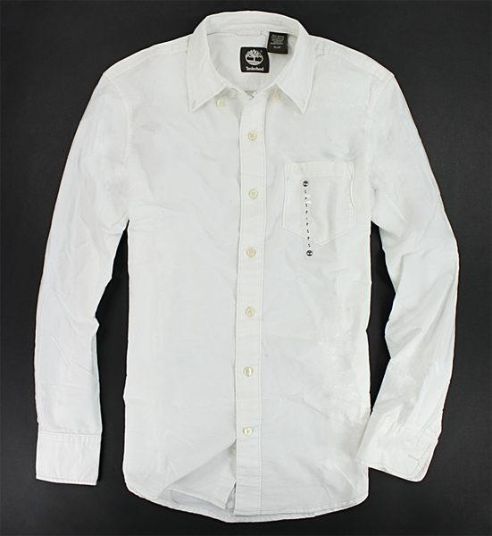 美國百分百【全新真品】Timberland 男生 素面 純白色 厚挺 長袖 質感 襯衫 S號 板橋門市