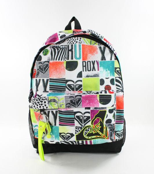 美國百分百【全新真品】ROXY 女生 後背包 學生包 外出包 上課 逛街 塗鴉 螢光綠 logo 超取
