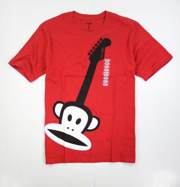 美國百分百【全新真品】paul frank 男 女 短袖 T恤 搖滾吉他 紅T 熱愛 潮流 大嘴猴 S號