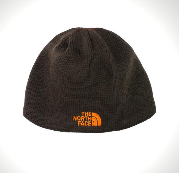 美國百分百【全新真品】The North Face 粗針織 毛線帽 毛帽 男 巧克力色 帽子 配件 橘Logo 超取