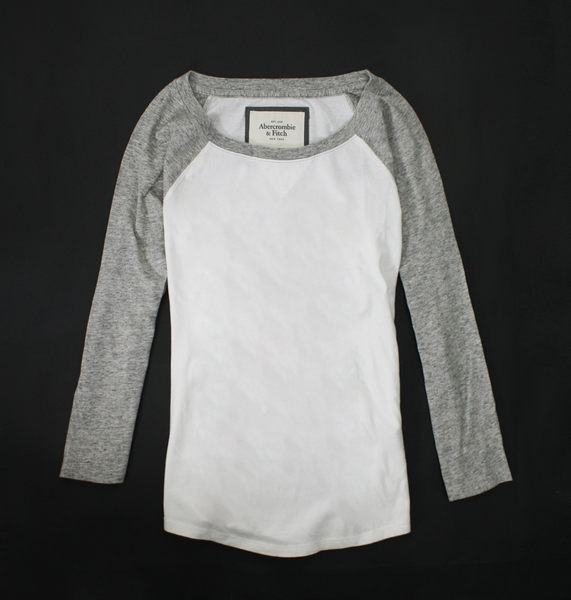 美國百分百【全新真品】Abercrombie & Fitch A&F 麋鹿 女 灰 白色 七分袖 M號 T恤 T-SHIRT 上衣 貨付