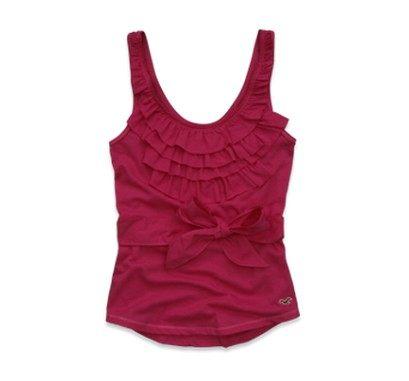 美國百分百【全新真品】Hollister Co Hco 女 蝴蝶結綁帶 挖背荷葉背心 洋裝上衣 深藍 桃紅 白