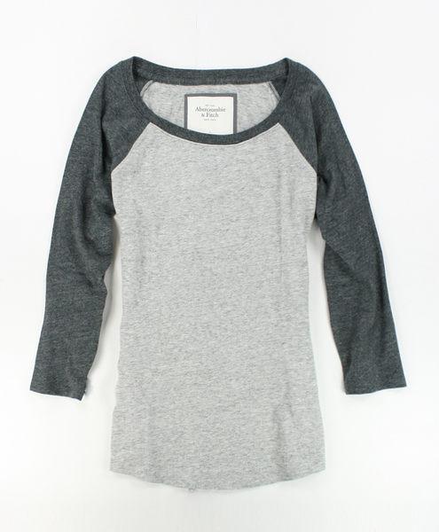 美國百分百【全新真品】Abercrombie & Fitch AF 麋鹿 女 灰 七分 短袖 M號 T-SHIRT T恤 貨付