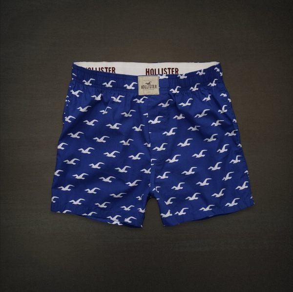 美國百分百【全新真品】Hollister Co HCO 海鷗LOGO 圖案 四角褲 平口褲 內褲 深藍 寶藍 M號