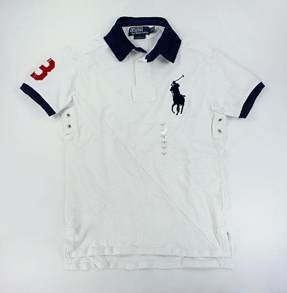 美國百分百【全新真品】Ralph Lauren RL 男生 縫線花樣 大馬 特色 設計款 polo衫 白色 S M號