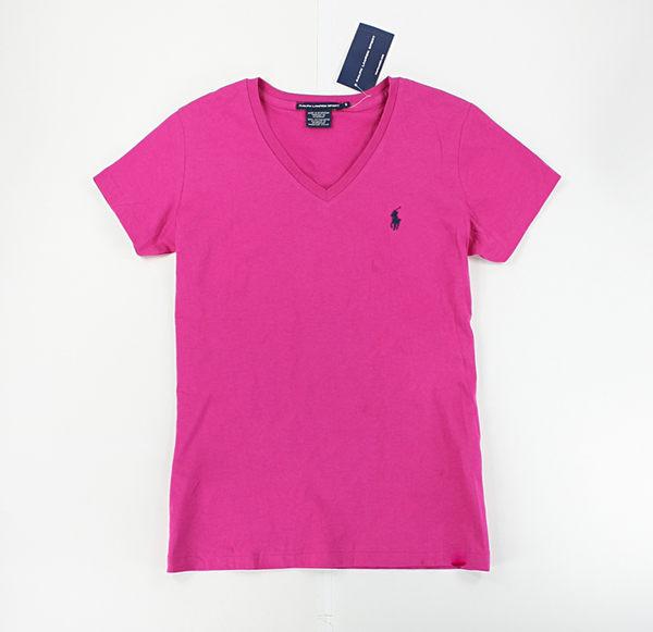 美國百分百【全新真品】Ralph Lauren Sport 女生 V領 薄款 小馬 T恤 T-shirt 短T 素T 桃紅色 S M L號