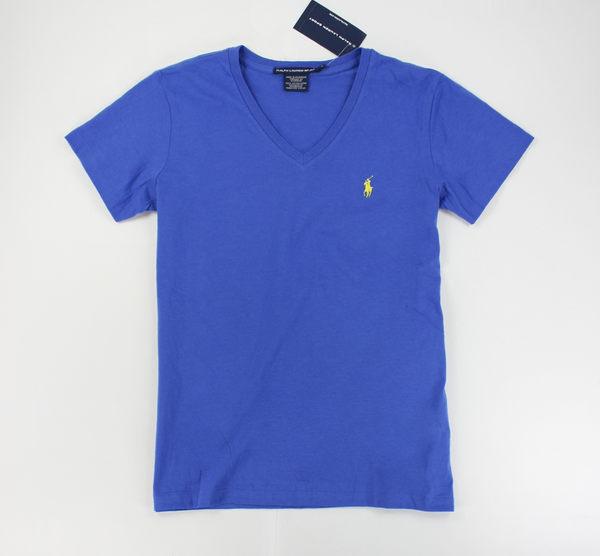 美國百分百【全新真品】Ralph Lauren Sport 女生 V領 薄款 小馬 T恤 T-shirt 短T 素T 藍色 S號 RL