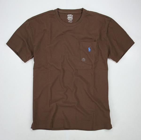美國百分百【全新真品】Ralph Lauren RL Polo 口袋 棉T 咖啡 短袖 T恤 tshirt 男 上衣 S M號 y