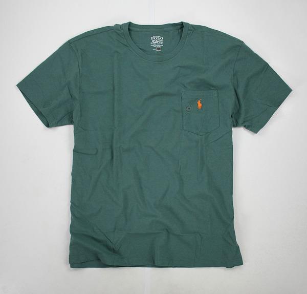 美國百分百【全新真品】Ralph Lauren RL Polo 純棉 口袋 小馬 T恤 素T 短T 深綠 tshirt 男衣 M號 y