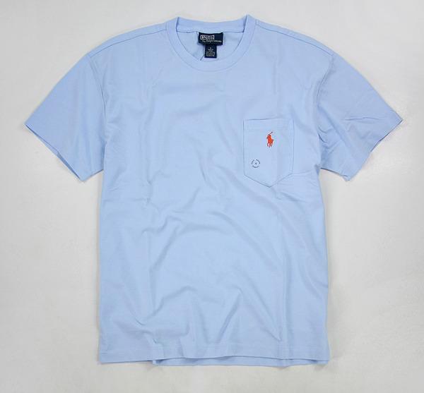 美國百分百【全新真品】Ralph Lauren RL Polo 簡約 口袋T 素面 短T 淡藍 T恤 tshirt 男 S號 超取 y
