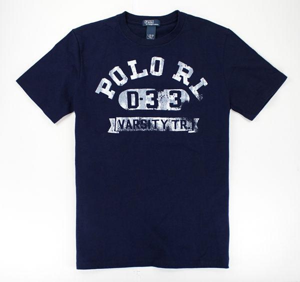 美國百分百【驚喜價】Ralph Lauren RL POLO 男 刷白破裂 噴漆感 文字T 短T恤 T-shirt 深藍 S號