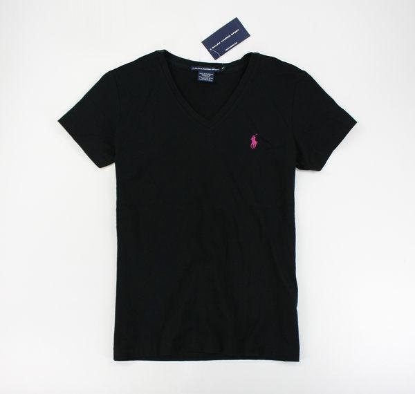 美國百分百【全新真品】Ralph Lauren Sport 女生 V領 薄T 粉紅小馬 T恤 T-shirt 短T 素T 黑色 M號 RL