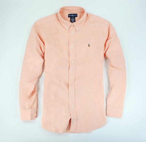 美國百分百【全新真品】Ralph Lauren 上衣 RL 男衣 Polo Oxford 牛津布 長袖 襯衫 淺橘 XS S號 B016
