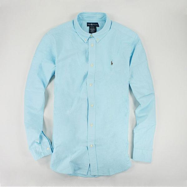 美國百分百【全新真品】Ralph Lauren 上衣 RL Polo Oxford 牛津布 亮水藍 長袖襯衫 XS S號 B016