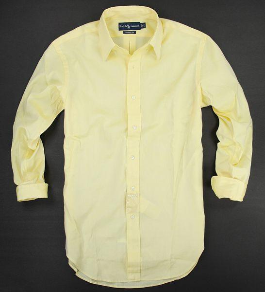 美國百分百【全新真品】Ralph Lauren RL POLO 長袖 素面 襯衫 鵝黃色 棉質 男 上衣 S號 特價免運