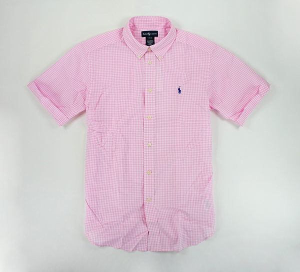 美國百分百【全新真品】Ralph Lauren RL 夏季 淡色 粉紅 格紋 短袖 襯衫 polo S號 人氣特價y